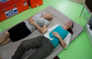 Trying out sleeping mats at the Whitsunday Caravan, Camping & Trailer Centre
