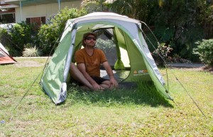 Small 2 man tent with vestibules front and back, and cross-ventilation windows