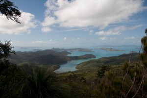 Looking over Hamilton Island from Whitsunday Peak
